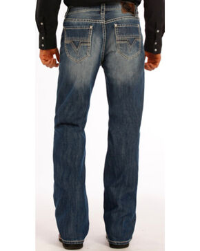 Rock and Roll Cowboy Double Barrel Abstract V Jeans - Boot Cut , Indigo, hi-res