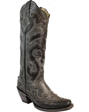 Corral Women's Laser Cut Out Pattern Western Boots - Square Toe, Black, hi-res