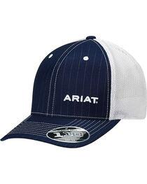 Ariat Men's Navy Pinstripe Pattern Baseball Cap , , hi-res