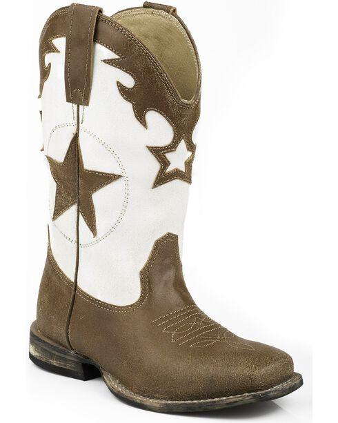Roper Boys' Star Cowboy Boots - Square Toe, Tan, hi-res