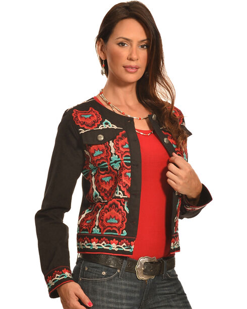 Pink Cattlelac Women's Black Fiesta Embroidered Jacket , Black, hi-res