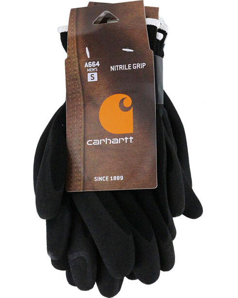 Carhartt Men's Thermal Sandy Nitrile Grip Gloves , Black, hi-res