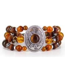 Shyanne® Women's Beaded Silver Concho Bracelet, , hi-res