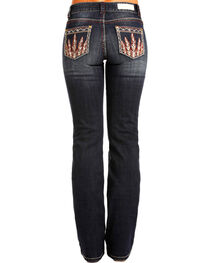 Rock & Roll Cowgirl Women's Feather Pocket Jeans - Boot Cut , , hi-res