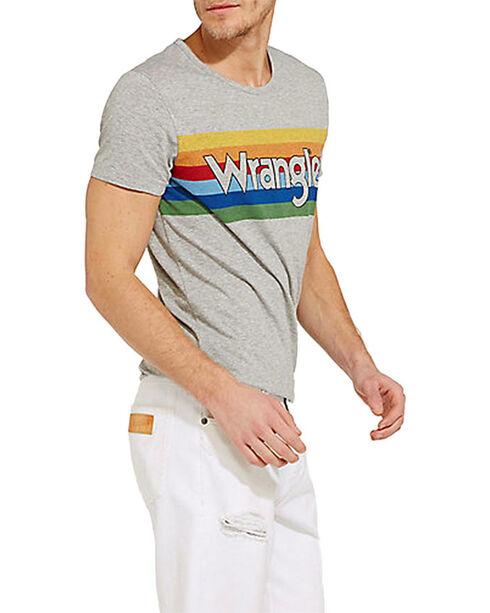 Wrangler Men's 70th Anniversary Rainbow Logo Ringer Tee , Grey, hi-res