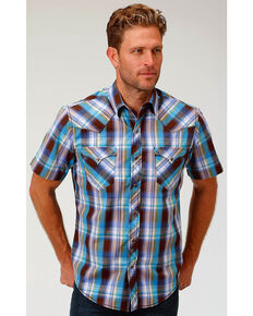 Roper Mens 9012 Off The Grid Check Brown - Shirts & Tops