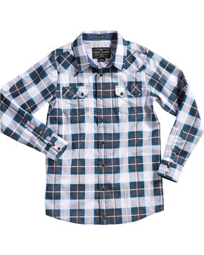 Cody James Boys' Great Lakes Plaid Long Sleeve Shirt, Navy, hi-res