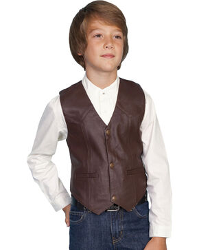 Scully Kid's Lambskin Vest, Brown, hi-res