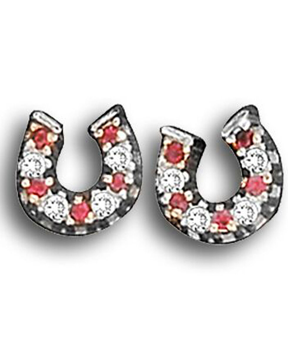 Kelly Herd Women's Red Small Horseshoe Earrings , Red, hi-res