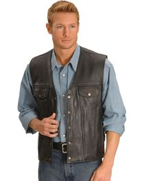 Milwaukee Men's Gambler Leather Motorcycle Vest, , hi-res