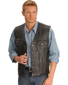 Milwaukee Men's Gambler Leather Motorcycle Vest, Black, hi-res