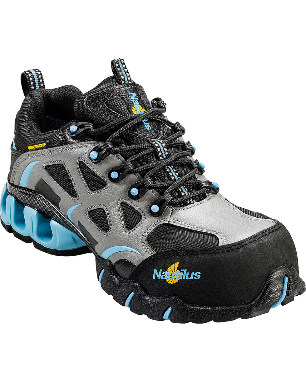 Nautilus Women's Grey and Blue Nylon Microfiber Athletic Work Shoes - Composite, Grey, hi-res