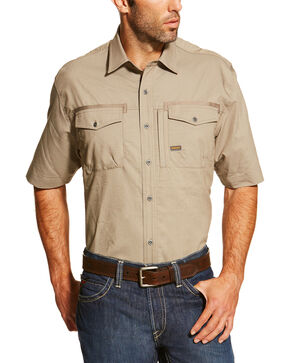 Ariat Men's Khaki Rebar Short Sleeve Work Shirt - Tall, Beige/khaki, hi-res