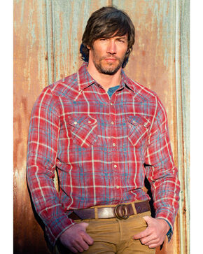 Ryan Michael Men's Double Face Barn Plaid Western Shirt, Indigo, hi-res