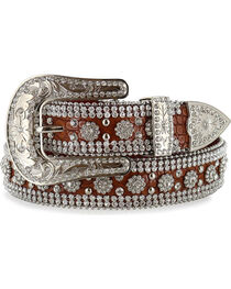 Angel Ranch Women's Rhinestone Faux Gator Belt, , hi-res