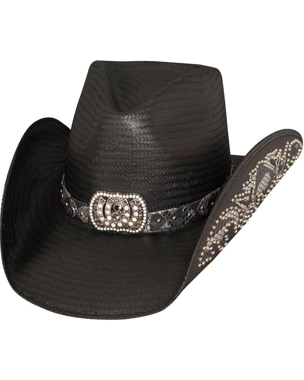 Bullhide Women's Cowgirl Fantasy Straw Hat, Black, hi-res