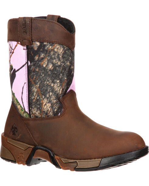 Rocky Girls' Aztec Pull-On Wellington Boots - Round Toe, Brown, hi-res
