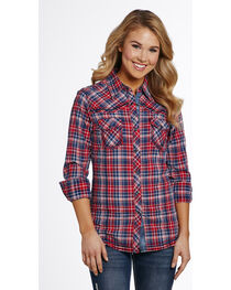 Cowgirl Up Women's Vintage Wash Plaid Shirt , , hi-res