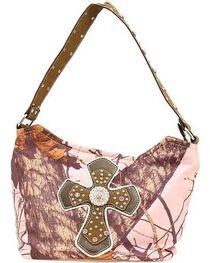 Nocona Belt Co. Women's Mossy Oak Rhinestone Cross Handbag, , hi-res
