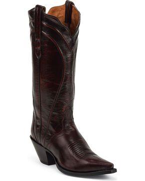 Nocona Women's Brush Off Goat Western Boots, Black Cherry, hi-res