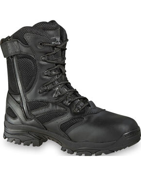 "Thorogood Men's Deuce 8"" Waterproof Side Zip Work Boots, Black, hi-res"