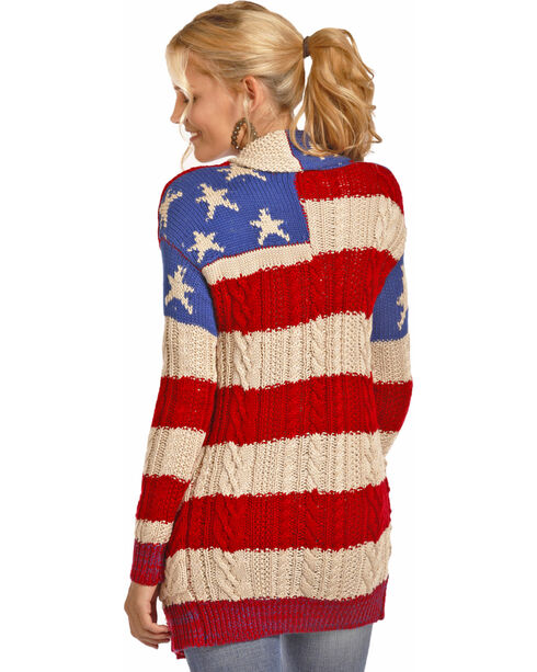Rock & Roll Cowgirl Women's American Flag Knit Cardigan , Red/white/blue, hi-res