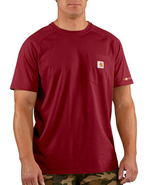 Carhartt Force Short Sleeve Work Shirt, Dark Red, hi-res