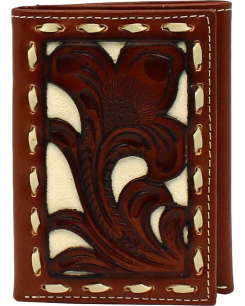 Nocona Men's Brown and Ivory Tooled Tri-fold Overlay Wallet , Tan, hi-res