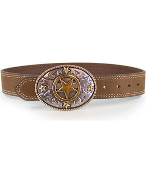 Cody James® Kids' Lonestar Buckle and Belt, Tan, hi-res