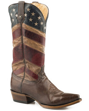Roper Women's Brown Distressed Old Glory Boots - Snip Toe , Brown, hi-res