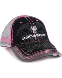 Smith & Wesson Women's Distressed Logo Trucker Ball Cap, , hi-res