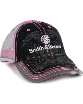 Smith & Wesson Women's Distressed Logo Trucker Ball Cap, Black, hi-res