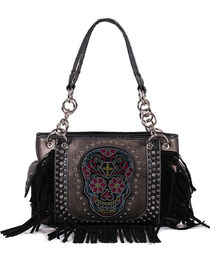Savana Women's Sugar Skull Fringe Trimmed Handbag, , hi-res