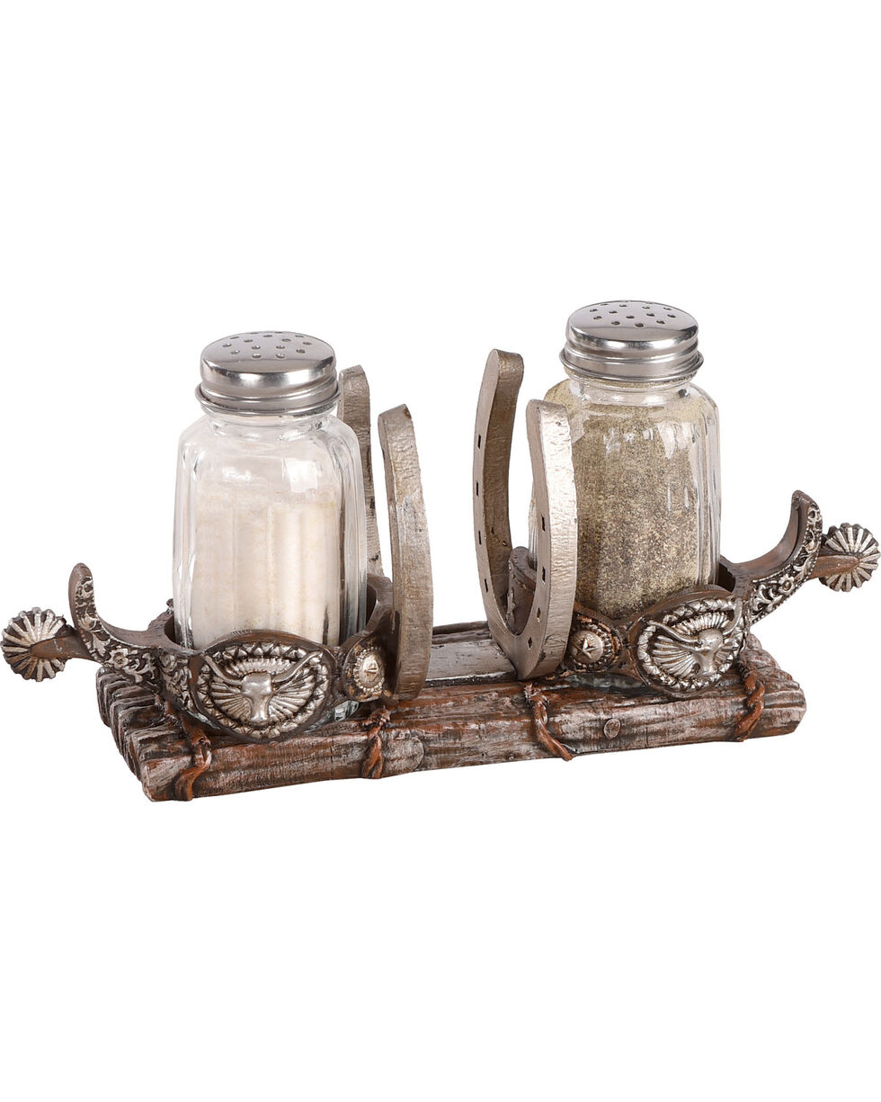 BB Ranch Spurs Salt and Pepper Shaker Holder , Brown, hi-res