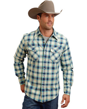 Stetson Men's Wide Plaid Patterned Long Sleeve Shirt, Blue, hi-res