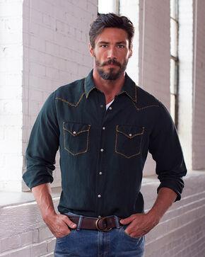 Ryan Michael Men's Whip Stitch Silk Linen Long SleeveShirt, Black, hi-res