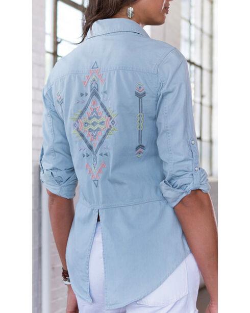 Ryan Michael Women's Embroidered Indigo Shirt, Indigo, hi-res