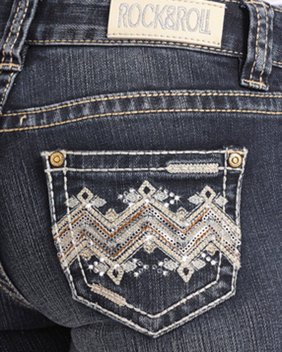 Rock & Roll Cowgirl Girls' Embellished Dark Vintage Wash Jeans - Boot Cut, Blue, hi-res