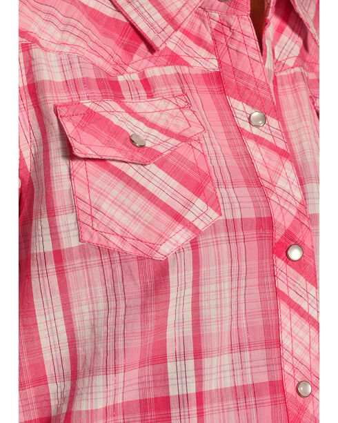 Cumberland Outfitters Girls' Plaid Long Sleeve Shirt, Pink, hi-res