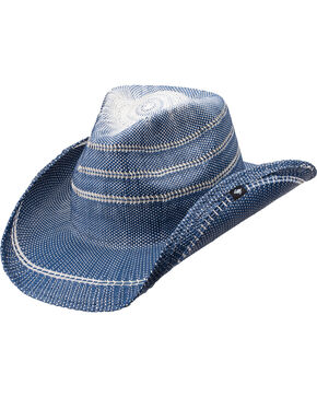 Peter Grimm Women's Stadler Straw Hat, Blue, hi-res