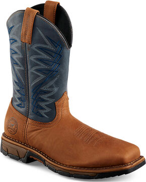 Red Wing Irish Setter Navy Blue Marshall Work Boots - Soft Square Toe , Brown, hi-res