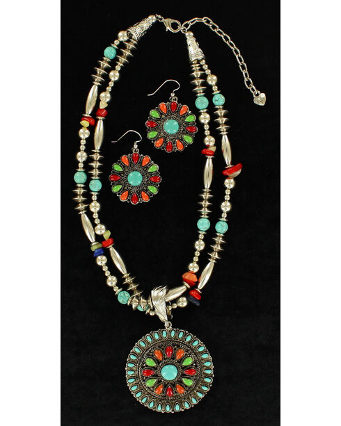 Blazin Roxx Multi-Bead Round Pendant Necklace & Earrings Set, Multi, hi-res