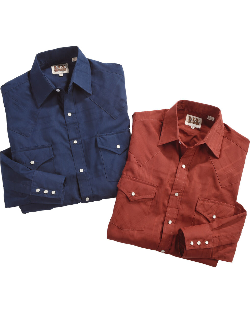 Ely Cattleman Men's Assorted Windowpane Solid Long Sleeve Snap Shirt, Multi, hi-res
