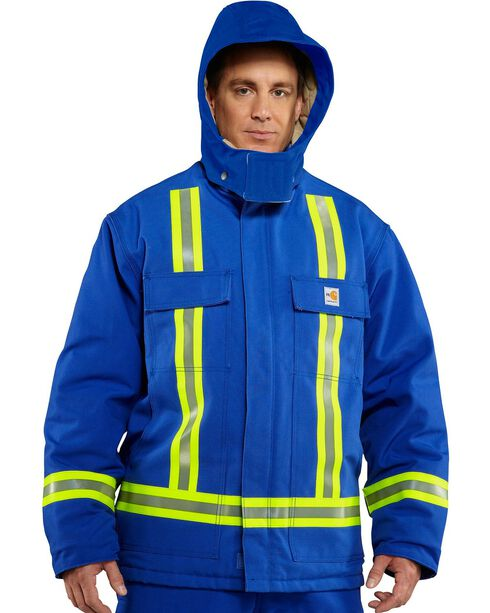 Carhartt Flame Resistant Reflective Quilt Lined Coat, Royal, hi-res
