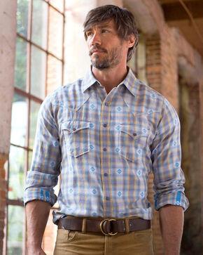 Ryan Michael Men's Blue Ombre Dobby Plaid Shirt - Big , Blue, hi-res