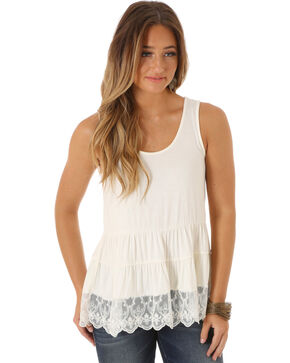 Wrangler Women's Sleeveless Tiered with Lace Hem Top, Cream, hi-res