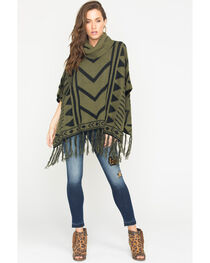 Allison Brittney Women's Jacquard Poncho with Fringe, , hi-res