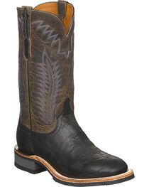 Lucchese Men's Wyatt Black Bull Shoulder Rubber Outsole Western Boots - Square Toe, , hi-res