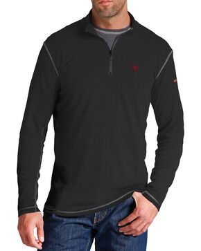 Ariat Flame Resistant Black Polartec 1/4 Zip Baselayer Shirt - Big and Tall, Black, hi-res
