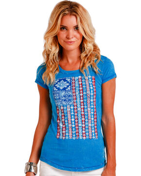 Panhandle Women's American Flag Short Sleeve Shirt , Blue, hi-res